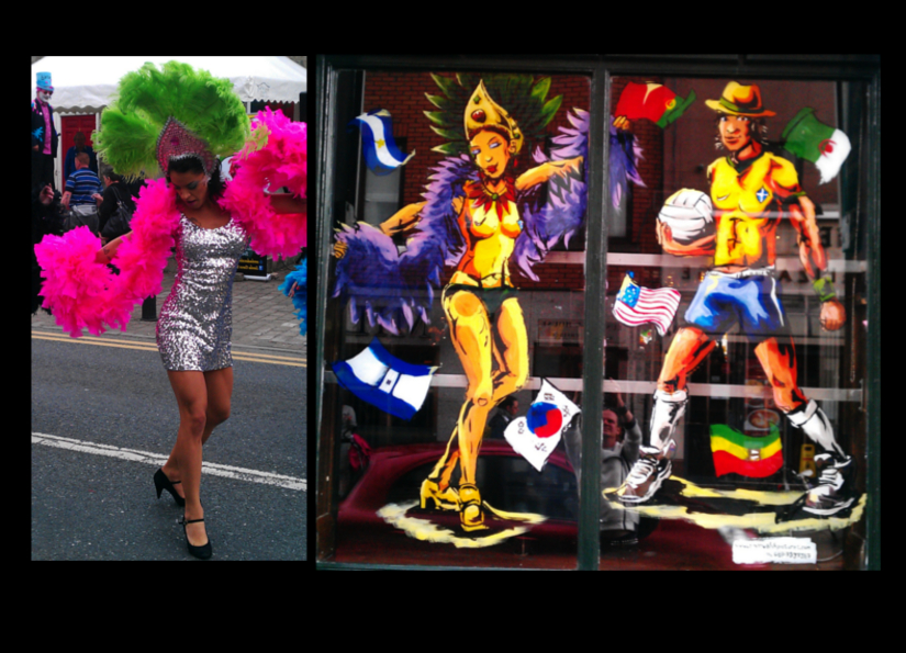 World Cup 2014 (inspired by Samba Dance Brazil, colours by Ian Nolan) – Fitzsimons', Temple Bar, Dublin 2